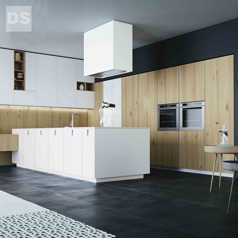 Urban matte wood grain combination of kitchen cabinets