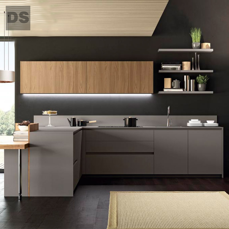 Wood grain quartz stone countertops L-shaped kitchen cabinet
