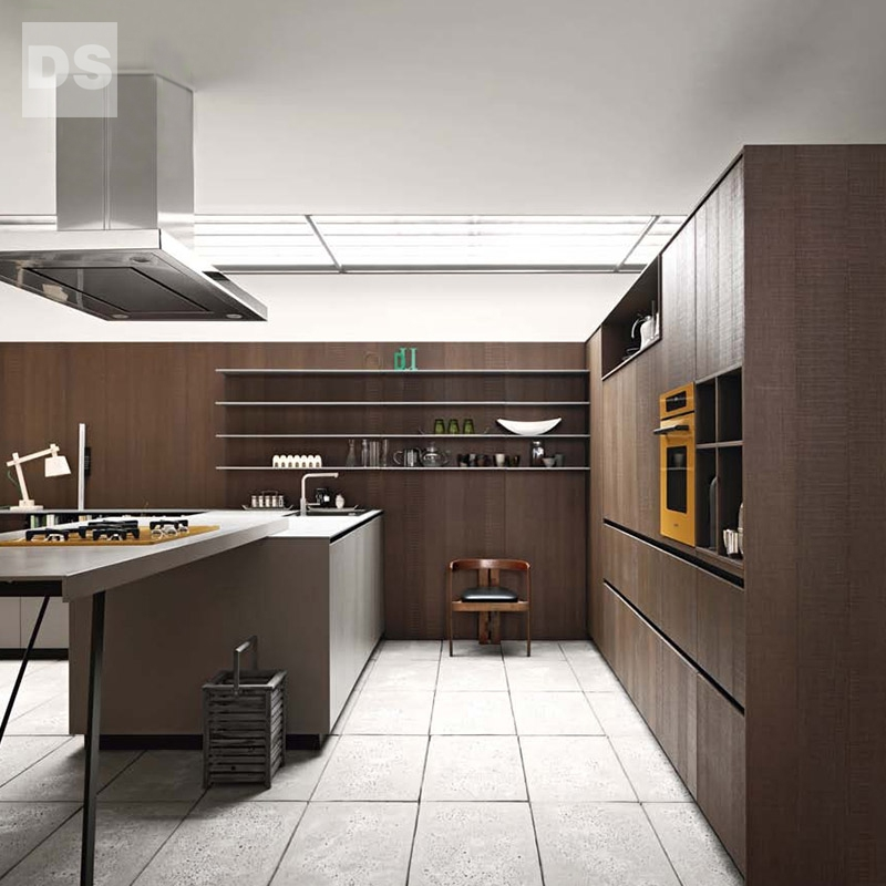 Imported mirror panels wood kitchen cabinets