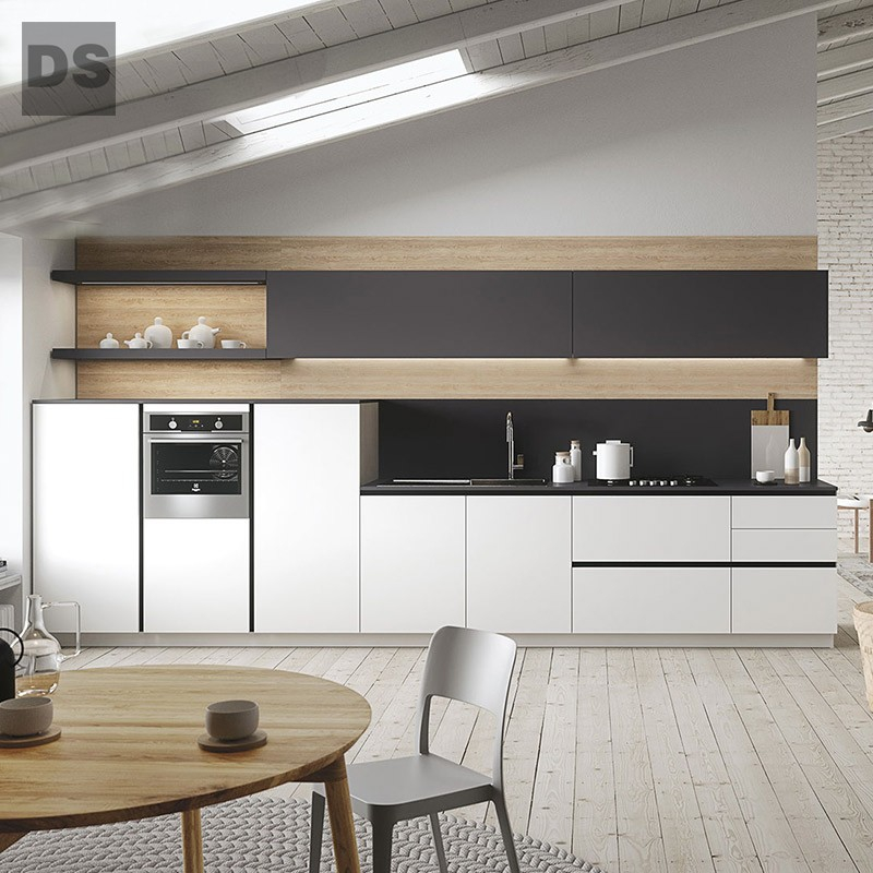 White Matt a small apartment kitchen cabinets